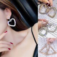 925Silver Luxury Crystal Round Geometric Ear Stud Earrings Hoop Women Jewelry