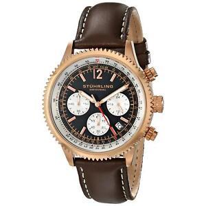 Stuhrling Monaco Men's 42mm Chronograph Brown Calfskin krysterna Watch 669.04