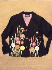Indigo Moon Embroidered Occasion Jacket Blazer Black FloralSize S 10/12/14