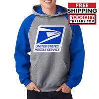 USPS LOGO POSTAL BLUE RAGLAN HOODIE U S Hooded Sweatshirt United States Service