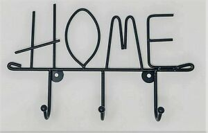 """Wall Mounted Key Holder 3 Hooks, screws and raw plugs included, cast Iron """"HOME"""""""