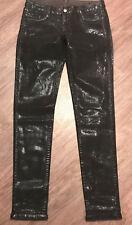 ONE by BLEULAB Reversible Legging Jeans Shiny Black Coating / Grey 26 NEW