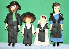 Lot of 4 Vintage Amish Family Dolls Mom, Dad, Brother, Sister