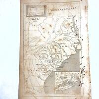 Authentic Antique Copper Plate Printed Map - 1700-1800's Original Decor Old - D