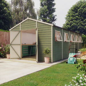 20x10 Pressure Treated Hobbyist Apex Windowed Double Door Garden Shed Tall Shed