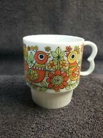 BIRD MUG stackable quail partri yellow orange green japan ceramic coffee tea cup