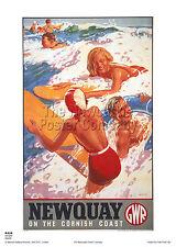 Cornovaglia Newquay POSTER Surf Railway Retrò Vintage Pubblicità da viaggio