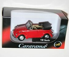 Cararama - VW Volkswagen BEETLE Cabrio (Red + Beige Interior) Model Scale 1:43