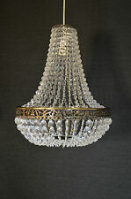 EMPIRE STYLE CHANDELIER ACRYLIC CRYSTAL ANTIQUE BRASS PENDANT LIGHT SHADE