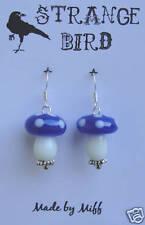Blue Magical mushroom earrings strange toadstool indigo magic fairy