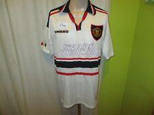 """Manchester UNITED Originale UMBRO Trasferta Maglia 1997-1999 """"Sharp Viewcam"""" Taglia XL"""