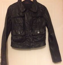 New Look Black Real Leather Button Front Pockets Jacket 10 12 38 40 S M