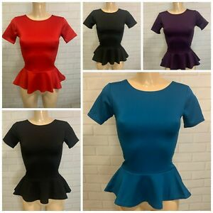 Stunning Womens Peplum Top, Fitted Figure Hugging Stretchy Size 8 -20 (5 Colours