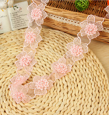 1 Yard (17pcs)Organza embroidery Flowers handmade Lace Trim Wedding decoration