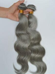 Silver Grey Human Hair Bundles Extension Body Wave Gray Hair Weave Weft