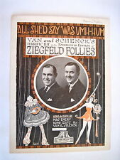 1920's Sheet Music of the Song All She'd Say Was Umh-Hum - Ziegfeld Follies *