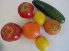 Lot of 7 Artificial Lifesize Fruit Apple Orange Lemon Cucumber Tangerine Decor