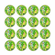 16x EDIBLE Rick and Morty cupcake Wafer Paper 4cm (uncut)