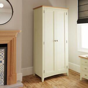 White Oak 2 Door Wardrobe / Painted Wood Full Hanging Double Wardrobe - Merlo