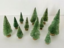 Vintage Set of Eleven ( 11 ) Bottle Brush Christmas Trees on Wood bases Various