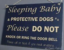 Blue Do Not Knock Protective Responsive Dogs Warning Baby Sign No Soliciting