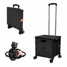 Foldable Utility Cart Folding Portable Rolling Crate Handcart With Black