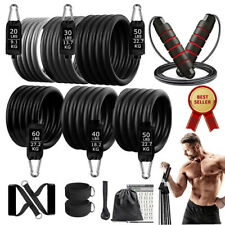 New listing 250lbs Resistance Elastic Bands Set Fitness Sports Exercise Equipment for Home