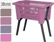 Pink Laundry Hamper Basket With Folding Legs Storage Washing Bin Reduce Bending