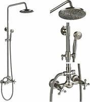 Bathtub Shower Faucet Set Wall Mount Shower Rod Kit Brushed Nickel Rain Head Tap