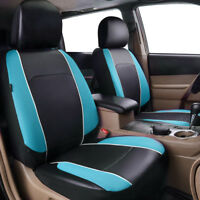 Universal 2 Front Car Seat Covers Blue Leather&Mesh Airbag Breathable for Truck