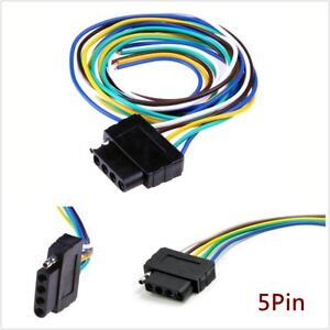"5 Pin 36"" Trailer Signal Light Wiring Harness Extension Cable Wire Connector Kit"