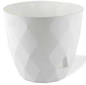 Blanc Diamant Forme Moderne Grand Plante Pot Intérieur / Extérieur 4.8 Litre