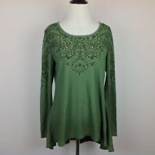 Unity World Wear Thermal Swing Top Womens Medium Green Embellished