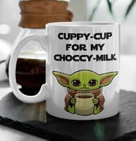 BABY YODA COFFEE mug Cuppy cup for my choccy milk, The Mandalorian Star Wars cup