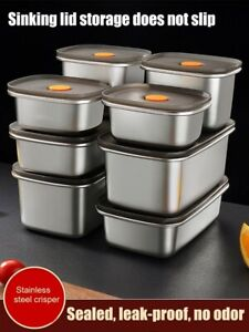 Stainless Steel Food Containers Leak Proof Bento w/Sealed Lids Food Storage Box