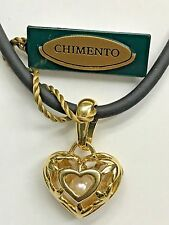 "NWT CHIMENTO JEWELRY PEARL HEART CHARM PENDANT ""Ti Amo"" NECKLACE 18K YELLOW GOLD"