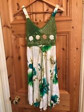 one size cotton strappy sundress spaghetti straps green white floral crochet top
