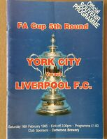 YORK CITY v LIVERPOOL - F.A CUP 5th ROUND PROGRAMME 1985/86