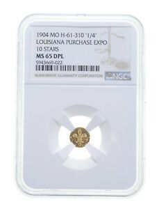 MS65 DPL 1904 MO Louisiana Purchase Exposition 1/4 Gold Coin - Graded NGC *4806