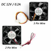 12V 0.2A Cooling Computer Fan Ball Bearing 70×70×25mm DC Brushless 2 Pin/3 Pin A
