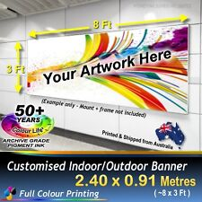 2.4m X 0.9m CUSTOM PERSONALISED OUTDOOR BANNER BUSINESS WALL SIGN POSTER FLAG