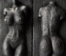 Viking Norse Female Valkyrie Nude Torso Tattoo Mjolnir Raven Wall Art Sculpture