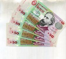 URUGUAY 2003 50 PESOS CURRENCY NOTE LOT 4 CONSECUTIVE 8757C