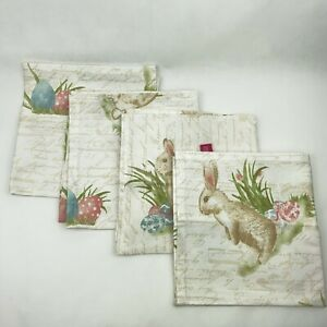 Isaac Mizrahi Cotton Set of 4 Script Easter Egg Bunny Rabbit Cloth Napkins