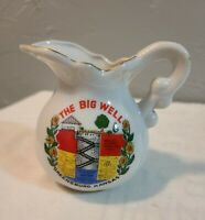 Small Vintage Ceramic Pitcher Advertising The Big Well in Greensburg, Kansas