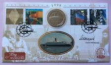 Benham 4.5.1999 Workers FDC Signed CAPT. WARWICK 1988 IOM Crown Coin Steam Ship