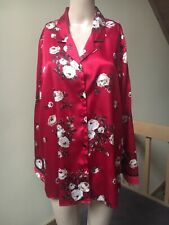 Delicates  Red Floral Satin Night Shirt  Size M