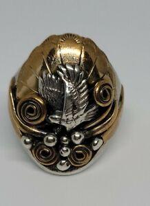Richard Begay Navajo Sterling Silver Eagle Ring Size 10.5