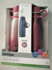 2x Contigo 591mL BPA Free Vaccum Insulated Water Drink Bottle Red Mug Thermos