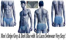 Men`s  Stripe Grey & Dark Blue with Tie Laces Swimwear Very Sexy pos Gay Int !